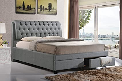Baxton Studio Ainge Contemporary Button-Tufted Fabric Upholstered Storage Bed with 2 Drawers King & Amazon.com: Baxton Studio Ainge Contemporary Button-Tufted Fabric ...