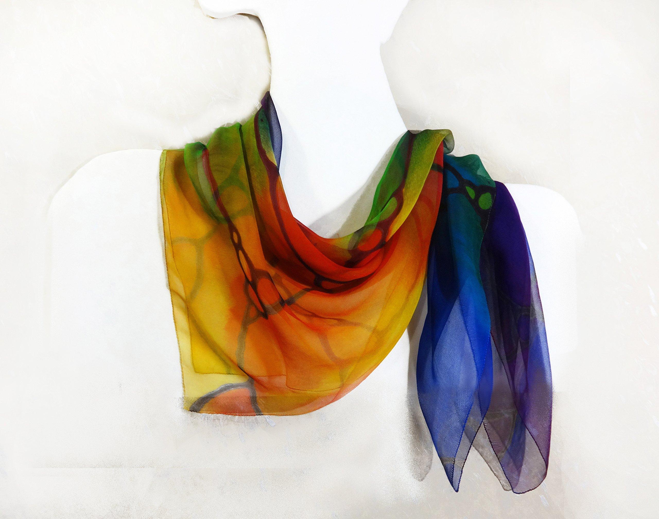 Rainbow Square Silk Scarf Handpainted Sheer Chiffon