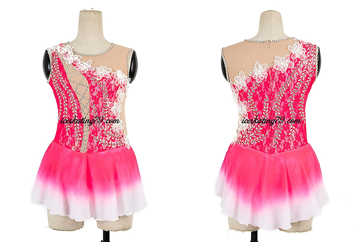 Ice Skating Dress/Girl Custom/Figure Skating Clothe/Twirling/ Leotard/Baton Custom/Women/ Competition/Hot Pink/Ombre Skirt