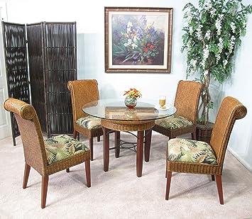 Astonishing Panama Rattan Wicker Dining Chair Table 5 Piece Set Cjindustries Chair Design For Home Cjindustriesco