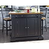 Home Styles 5003 948 Kitchen Island With Stool, Black And Distressed Oak  Finish