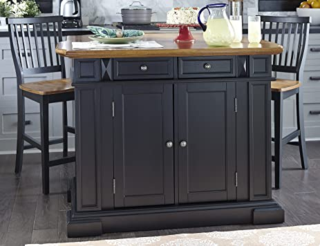 Home Styles 5003-948 Kitchen Island with Stool Black and Distressed Oak Finish & Amazon.com - Home Styles 5003-948 Kitchen Island with Stool Black ... islam-shia.org