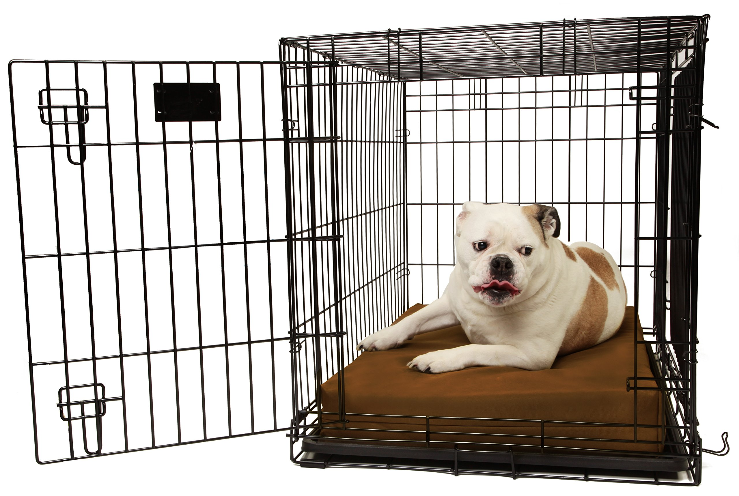 Orthopedic 4'' Dog Crate Pad by Big Barker - 36'' x 24''. Waterproof & Tear Resistant, Washable Cover. Luxury Orthopedic Support Foam inside. Made in USA. Sized to perfectly fit inside a 36'' x 24'' crate.