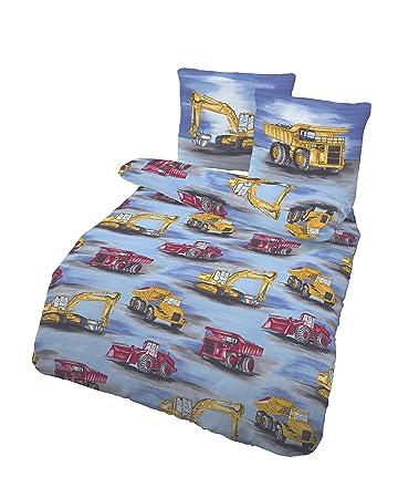 Träumschön Bagger Bettwäsche 135x200 Biber Kinderbettwäsche Jungen