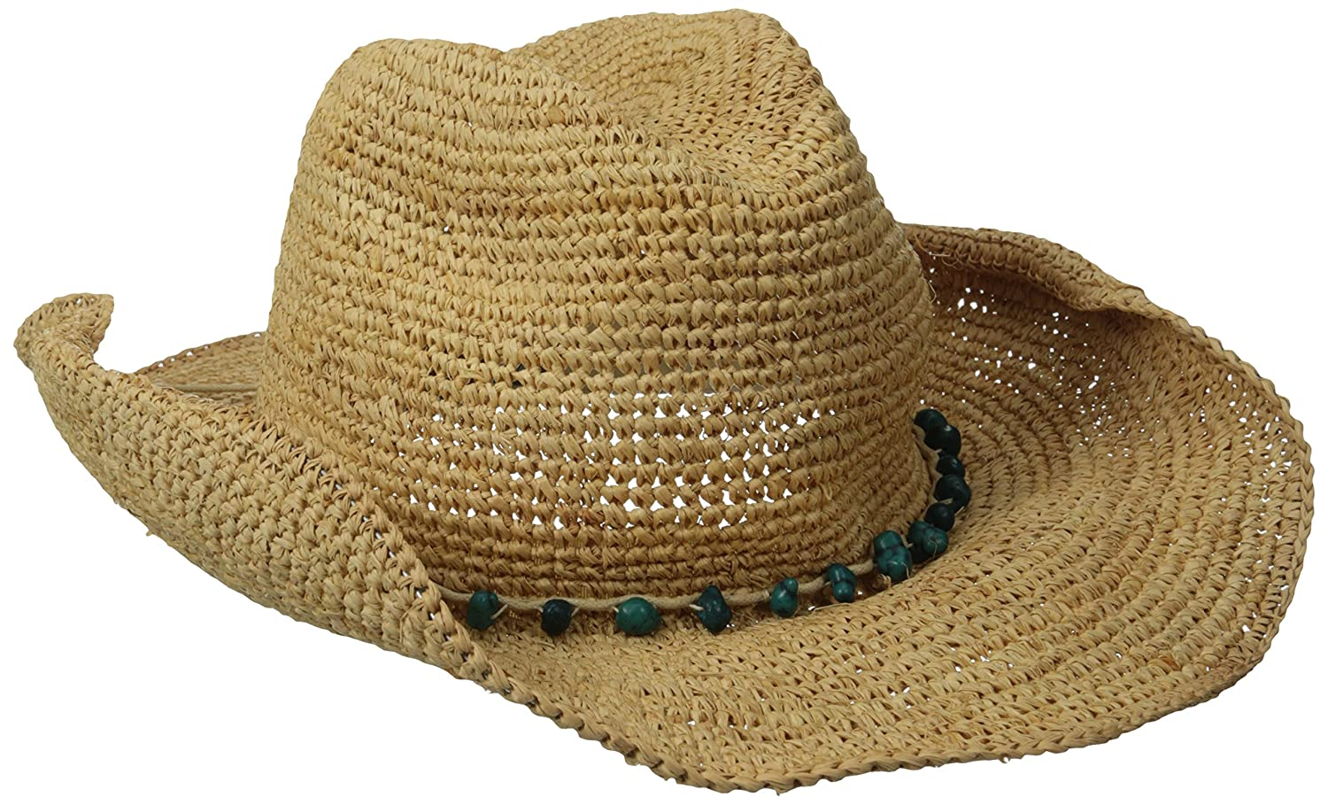 San Diego Hat Company Women's Crochet Raffia Cowboy Hat with Turquoise Hat Natural One Size rhc1074