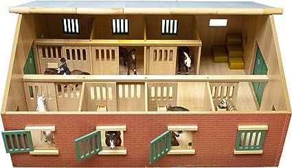 Casa de Caballo de Madera a Escala 1:24 Kids Globe 610211 Ventanas y portones con 3 Cajas Puertas m/óviles Multicolor