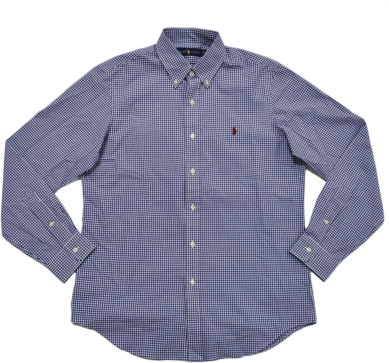 Polo Ralph Lauren Men's Plaid Poplin Sport Shirt (Blue White Red Pony)