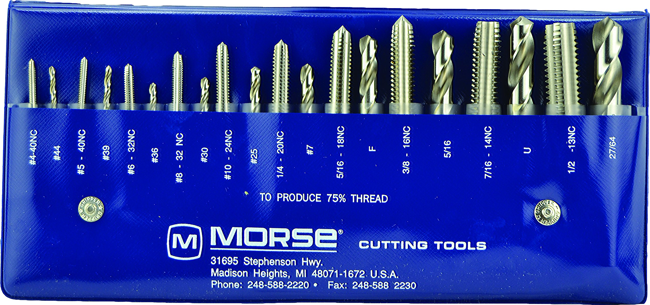 Morse Cutting Tools 37103 Tap and Drill Set, NC Series, High Speed Steel, #103 Number