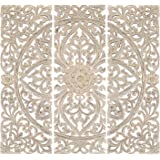 Artesia Handcarved White Flower Decorative Wall Hanging Wooden Wall Panel