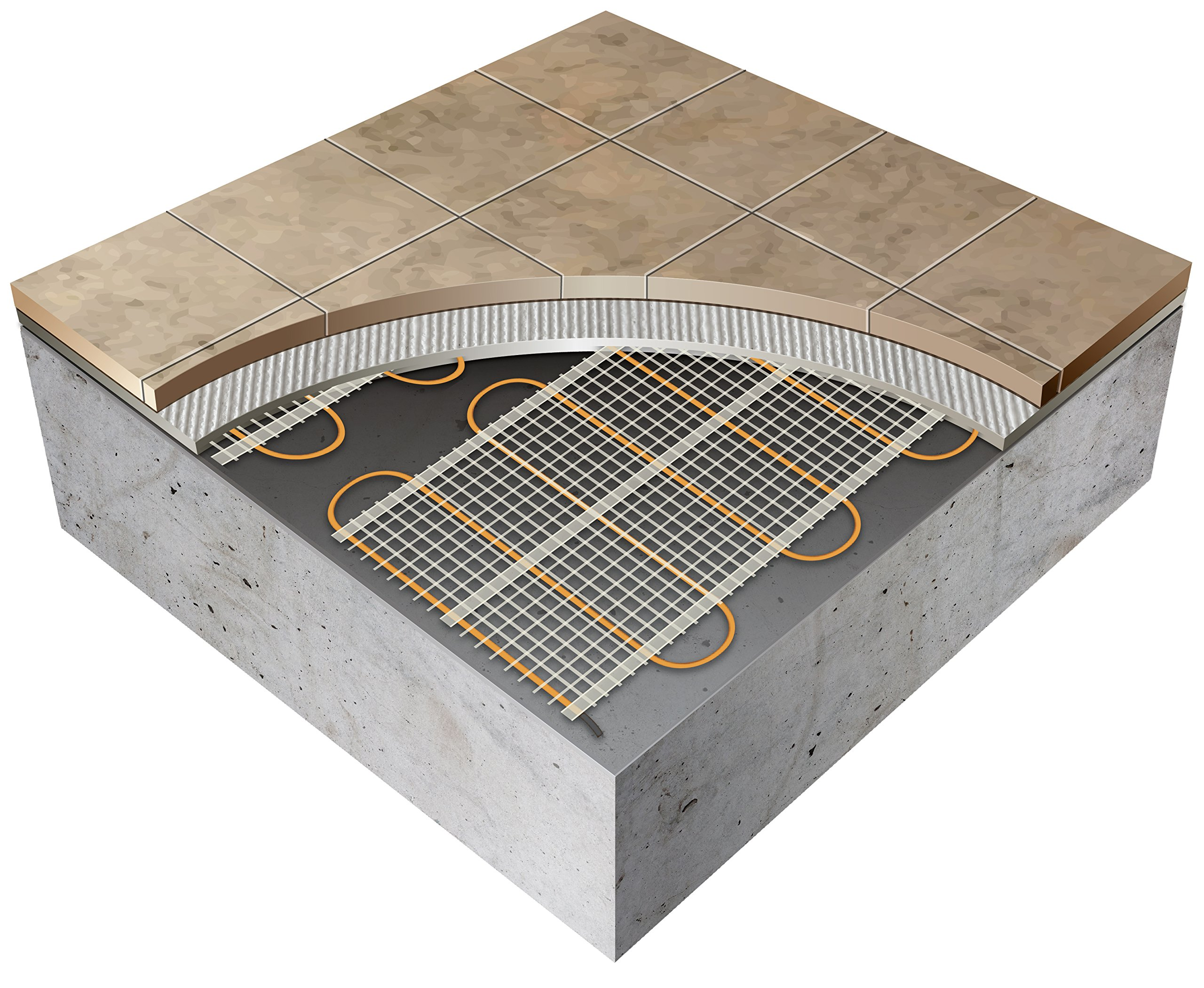 150 sq.ft. 240-Volt. Ceramic & Stone Tile Electric Floor Heating Kit w/Honeywell Floor Thermostat and Installation Alarm, (100 ft. x 1.5 ft.) - Other Sizes Available