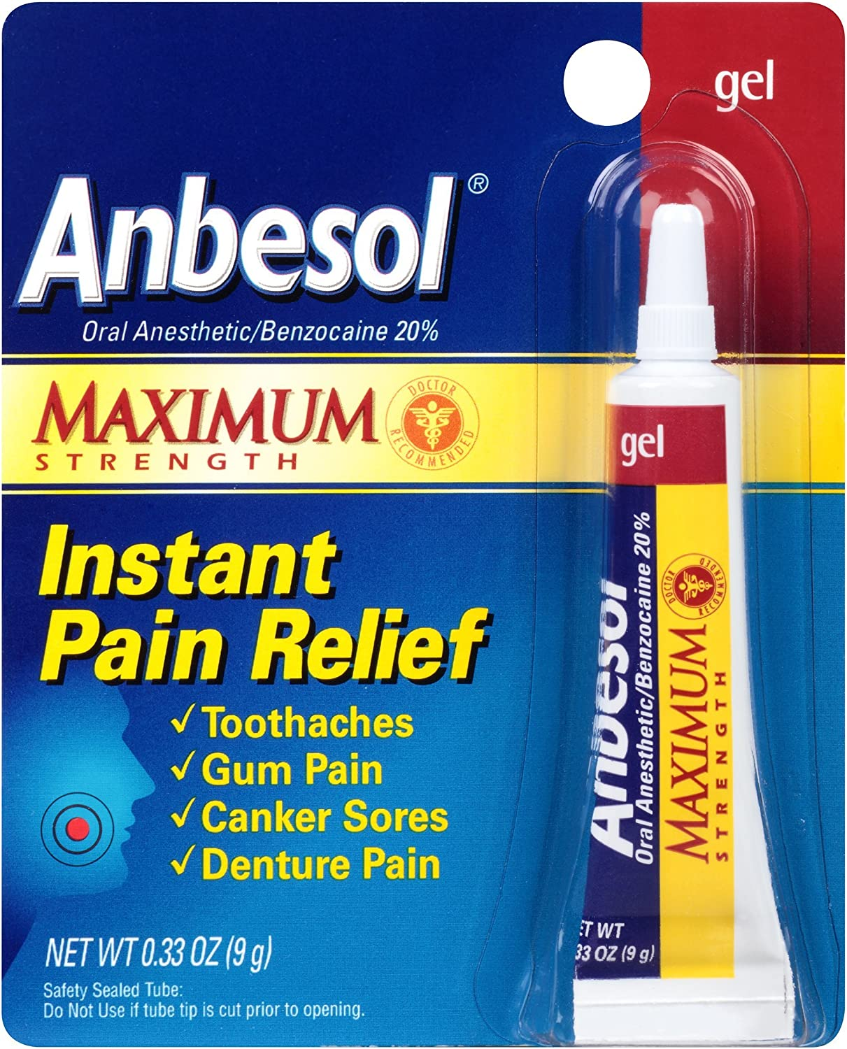 Anbesol Maximum Strength Oral Anesthetic Gel (0.33 Ounce Tube) (305730225670): Health & Personal Care