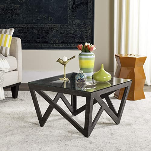 Safavieh Home Collection Radley Dark Grey Geometric Glass Top Square Coffee Table