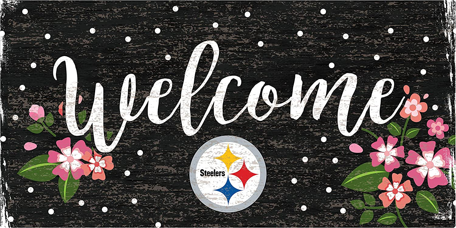 Fan Creations NFL Pittsburgh Steelers Unisex Pittsburgh Steelers Welcome Floral Sign, Team Color, 6 x 12