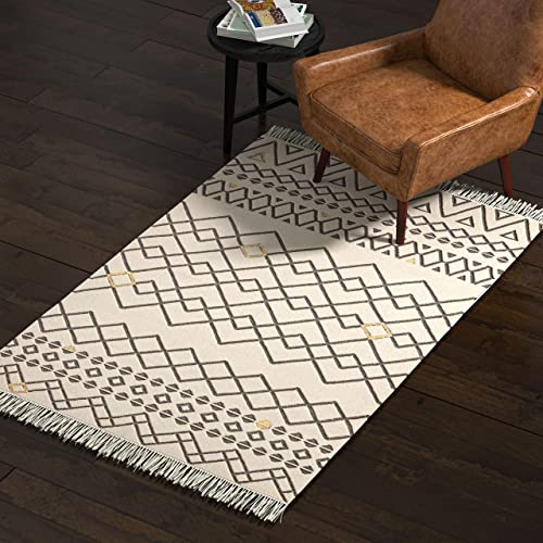 Amazon Brand Rivet Modern Moroccan Inspired Area Rug, 4 x 6 Foot, Multicolor Yellow Accent