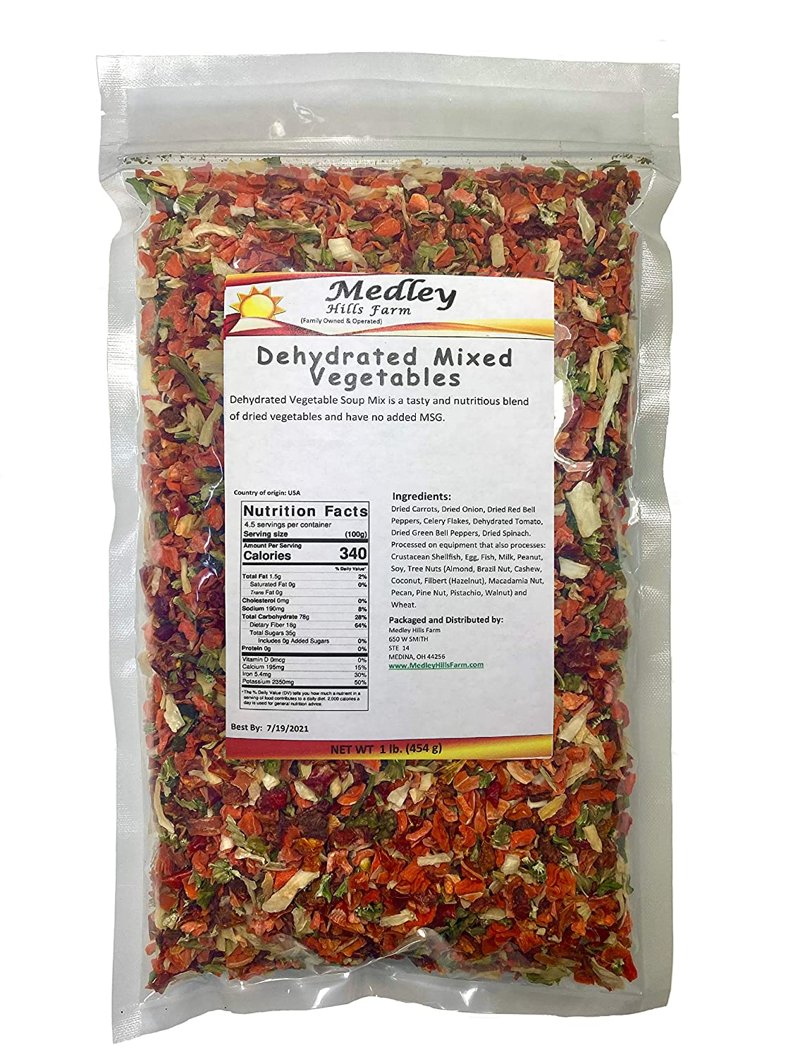Dehydrated Mixed Vegetables By Medley Hills farm All Natural Soup Greens Vegetable Soup Mix 1 Lb.