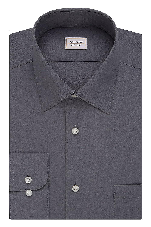 7fdb5737b6f0 Arrow Mens Dress Shirts Athletic Fit Solid Poplin Spread Collar at Amazon Men s  Clothing store