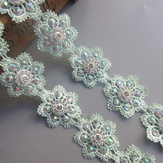2 Yard Flower Diamond Lace Edge Ribbon 1-1//2 Width Vintage Style Apricot Trimmings Fabric Embroidered Applique Sewing Craft Wedding Bridal Dress Embellishment Party Decoration Clothes Embroidery