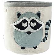 Grey Bee Animal Theme Collapsible Canvas Storage Bin for Kids, Grey - Raccoon