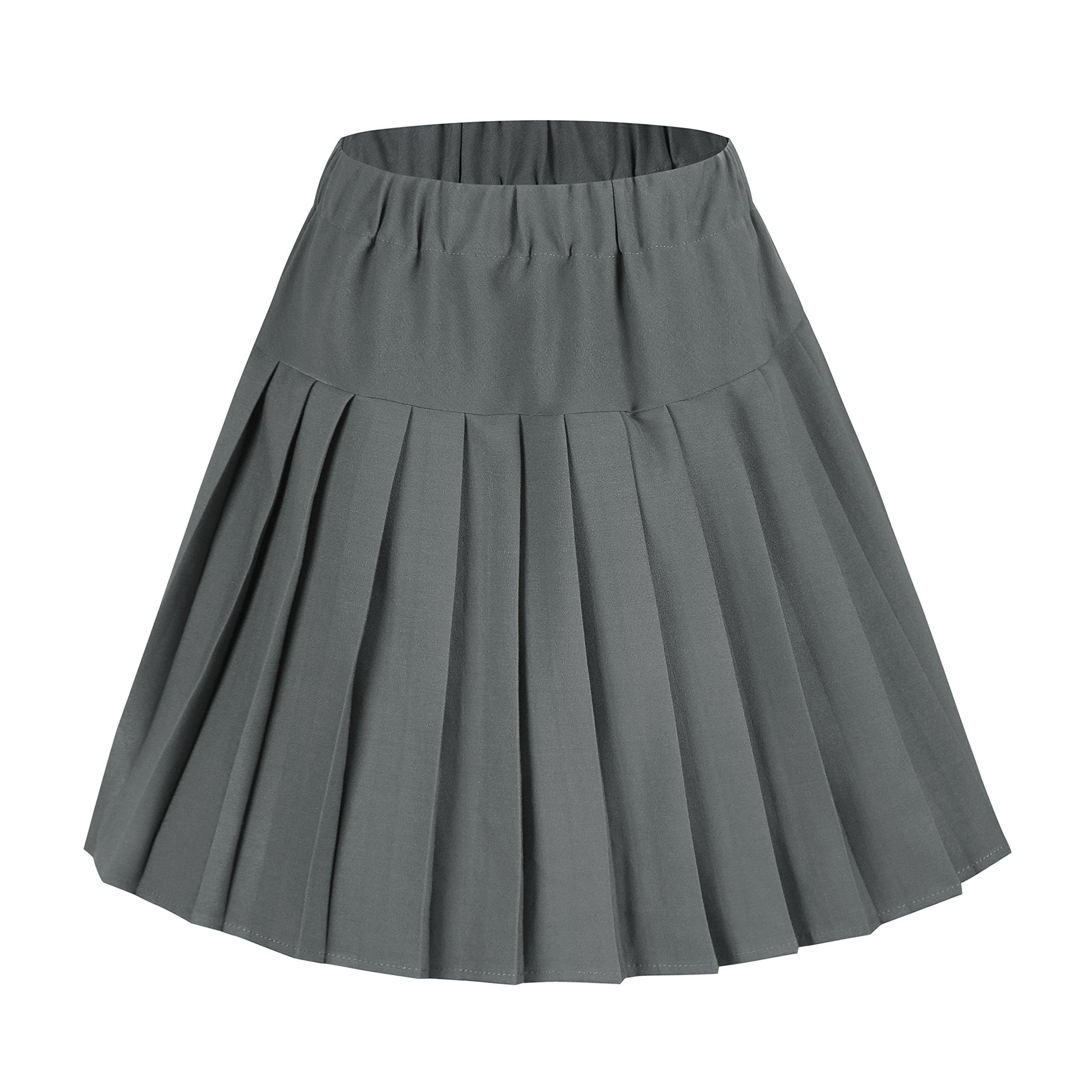 Urban CoCo Women's Elastic Waist Tartan Pleated School Skirt (Solid Grey, Medium)