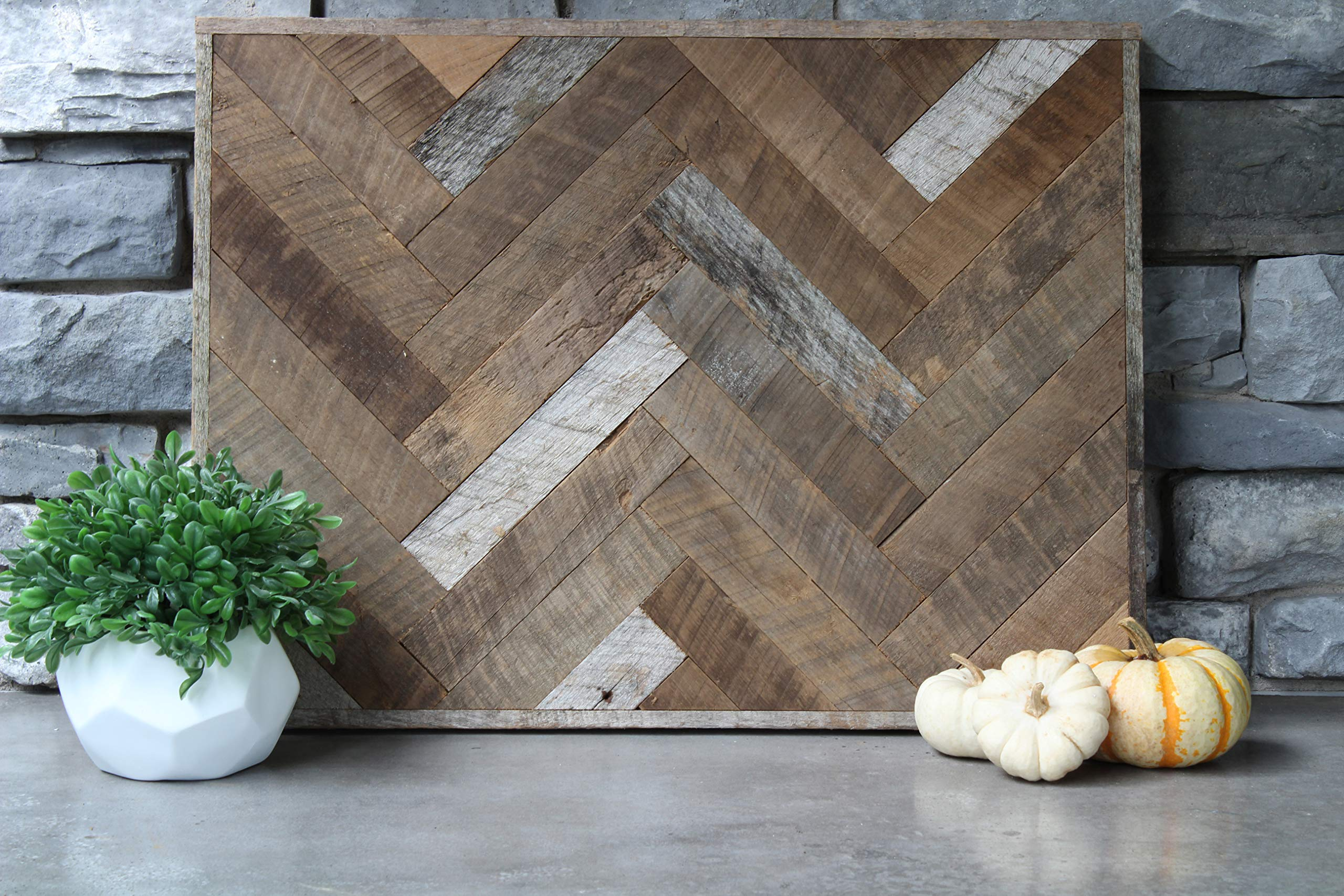 Urban Legacy Reclaimed Wood Wall Art Herringbone Framed (24'' x 36'') by Urban Legacy