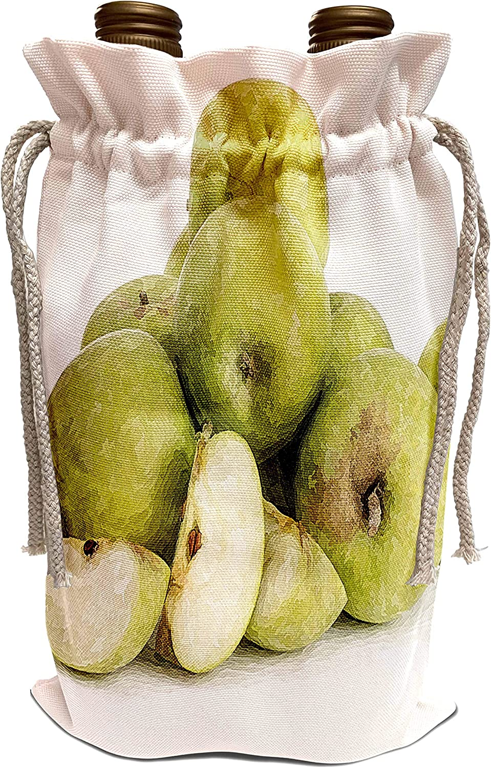 3dRose Alexis Design - Fruits And Berries - Green apples. Summer fruits. Digital painting. Decorative gift - Wine Bag (wbg_320883_1)