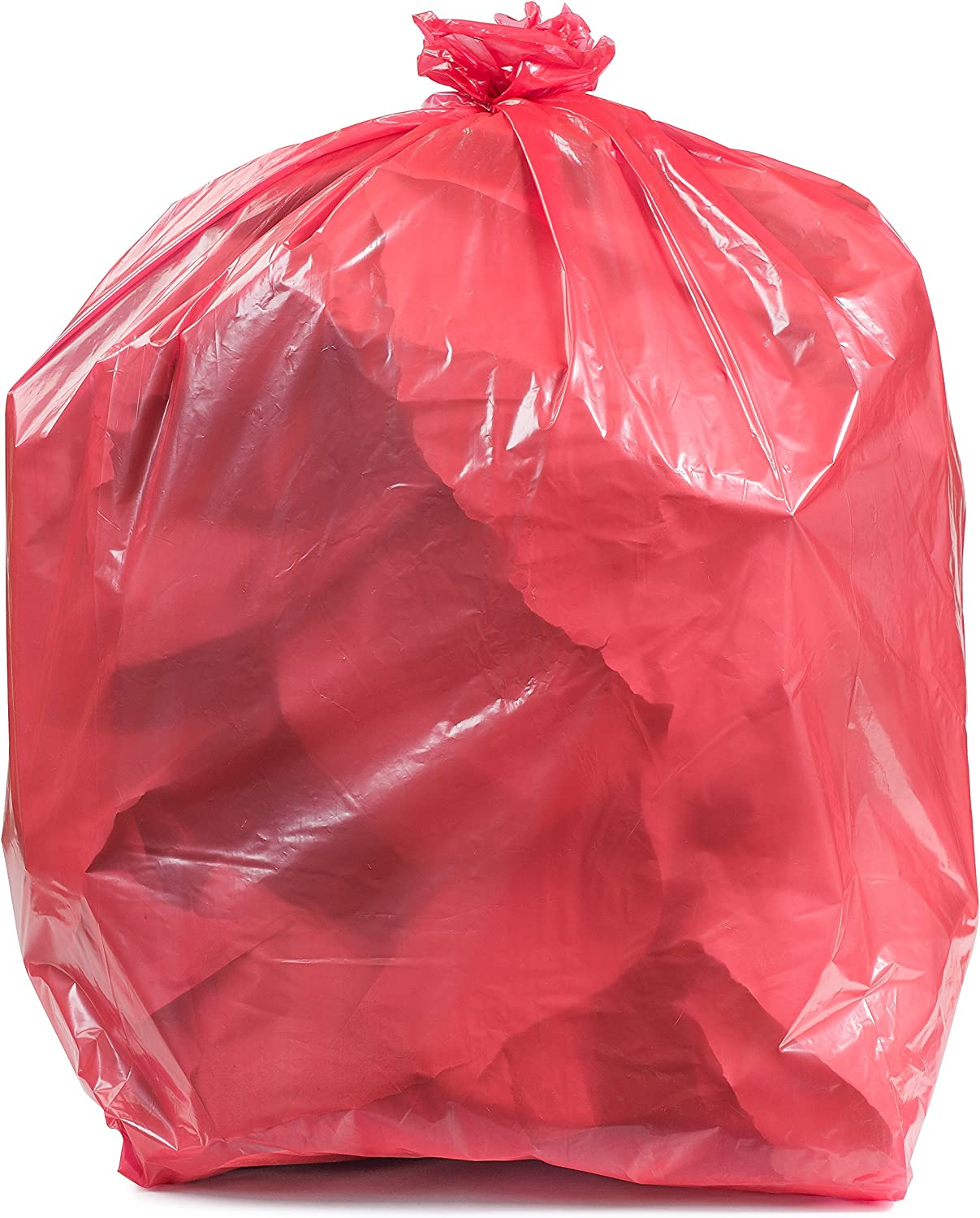 "Plasticplace T55120RD 55-60 Gallon Trash Bags │ 1.2 Mil │ Red Heavy Duty Garbage Can Liners │ 38"" x 58"" (50 Count), 250 (Pack of 1)"