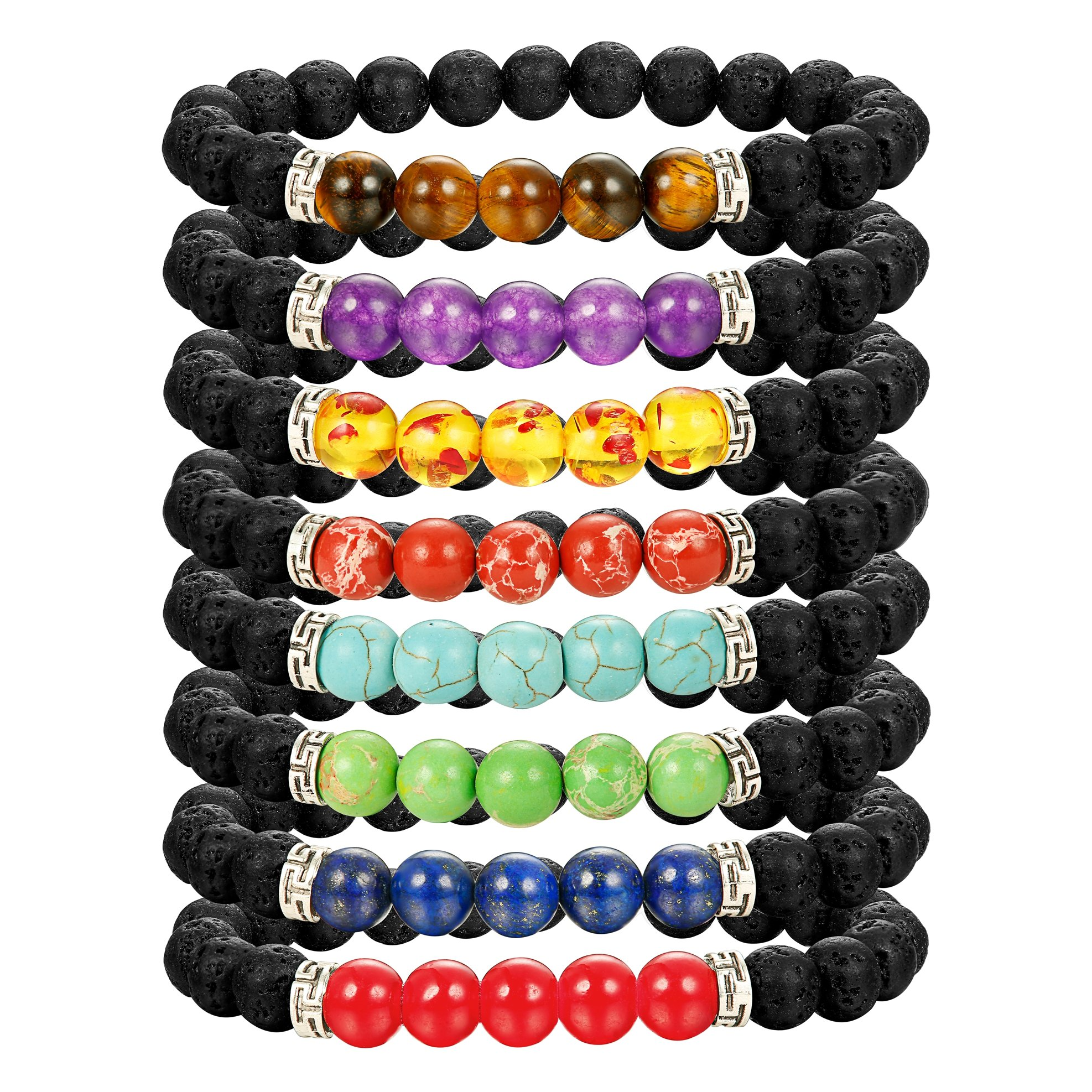 LOLIAS Chakras Bracelet 8 Pack Bead Gemstone Bracelet for Men Women Natural Stone Diffuser Bracelet Stretch Yoga Bracelets