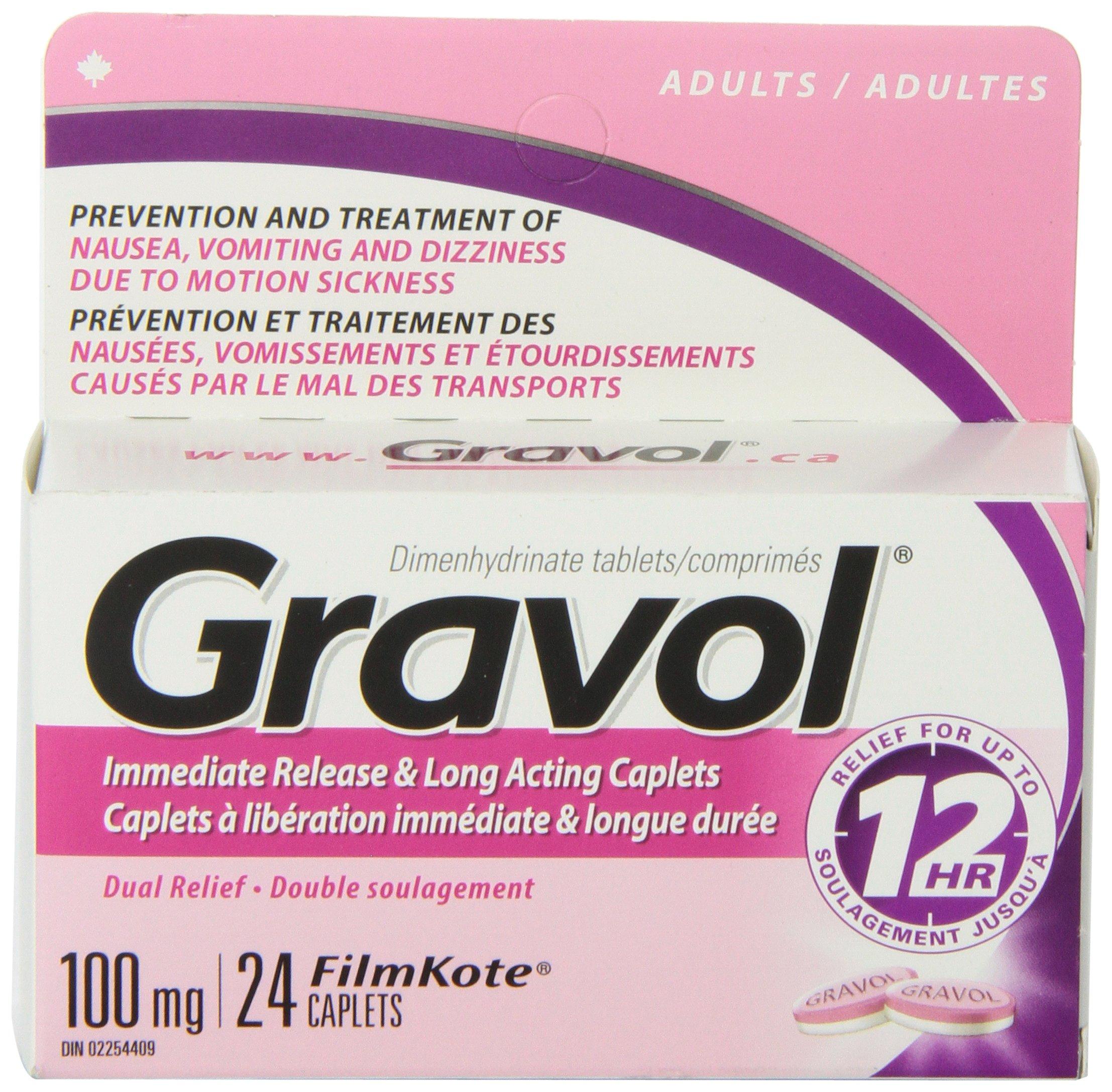 Dual Relief 12 Hour Long Lasting GRAVOL (24 caplets) Antinauseant for NAUSEA, VOMITING, DIZZINESS & MOTION SICKNESS by Gravol (Image #4)