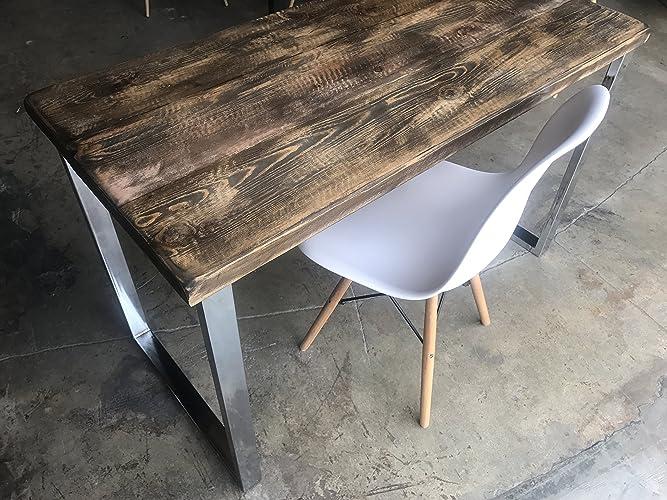 umbuz solid reclaimed wood u0026 chrome leg desk