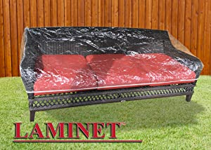 LAMINET Crystal Clear Heavy-Duty Waterproof Plastic Outdoor Furniture Cover - Slider/Glider Cover - 3 Season Protection - Keep Rain, Snow & Debris Off! Premium Protection at Economy Price!