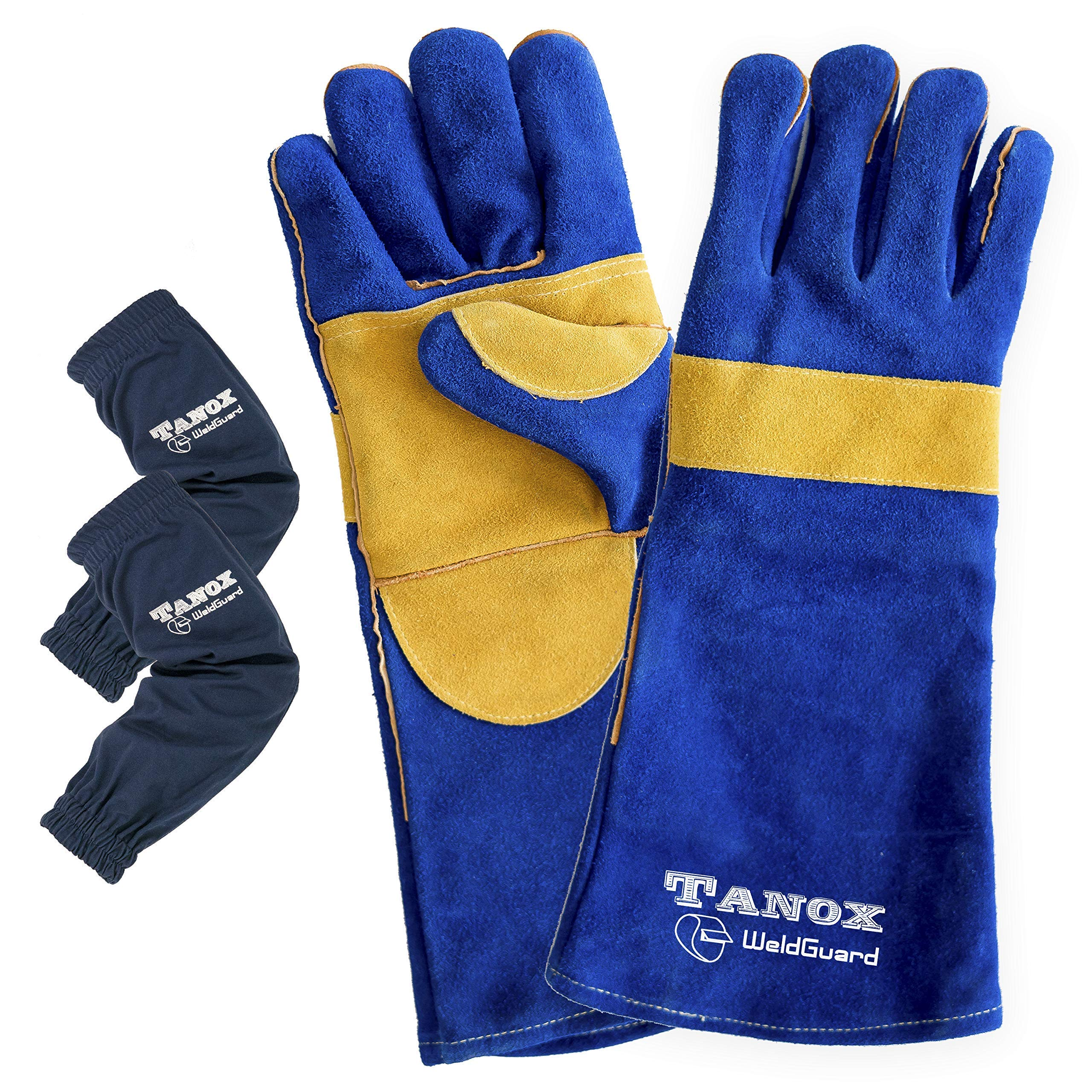Tanox Leather Welding Gloves and Sleeves: Extreme Heat and Fire Resistant Reinforced Versatile Gloves with Protective Cotton Armwear with Elastic Cuffs by Tanox