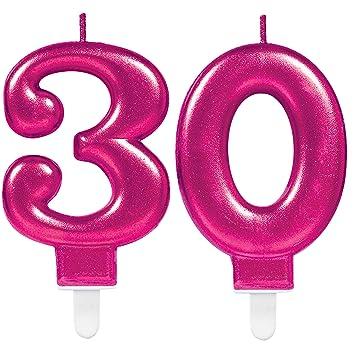 CARPETA® 2 x Número velas * Número 30 * en rosa, aprox. 12 cm x 10 cm Grande | Deko 30. Cumpleaños Cumpleaños vela vela