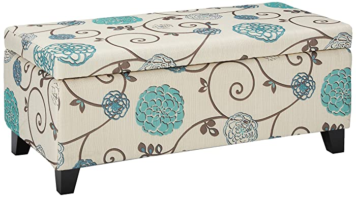 """Christopher Knight Home 299442 Living Brenway Pattern Fabric Storage Ottoman (Floral), 19.00""""L x 38.50""""W x 16.00""""H, White and Blue"""