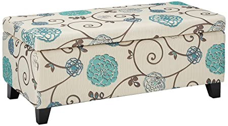 Christopher Knight Home 299442 Living Brenway Pattern Fabric Storage Ottoman Floral , 19.00 L x 38.50 W x 16.00 H, White and Blue