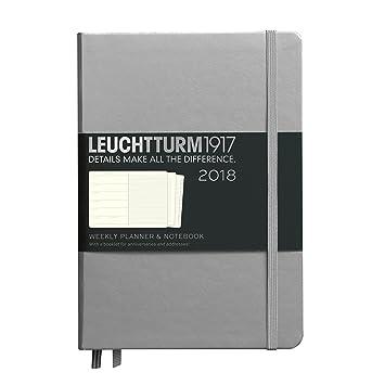 LEUCHTTURM1917 - Planificador semanal y cuaderno metálico edición mediana (A5) 2018, Inglés, color plata Mediano (A5)