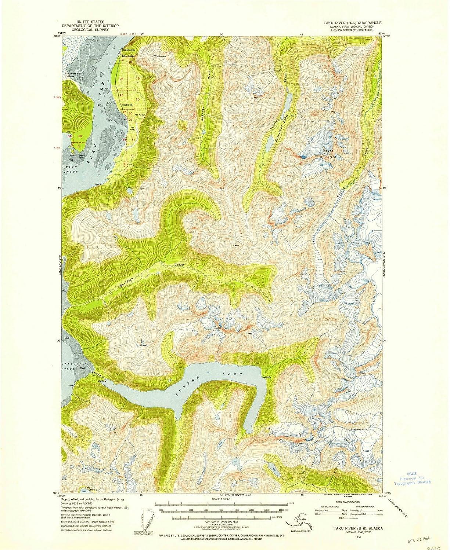 Amazon.com: Alaska Maps | 1951 Taku River, AK USGS Historical ...
