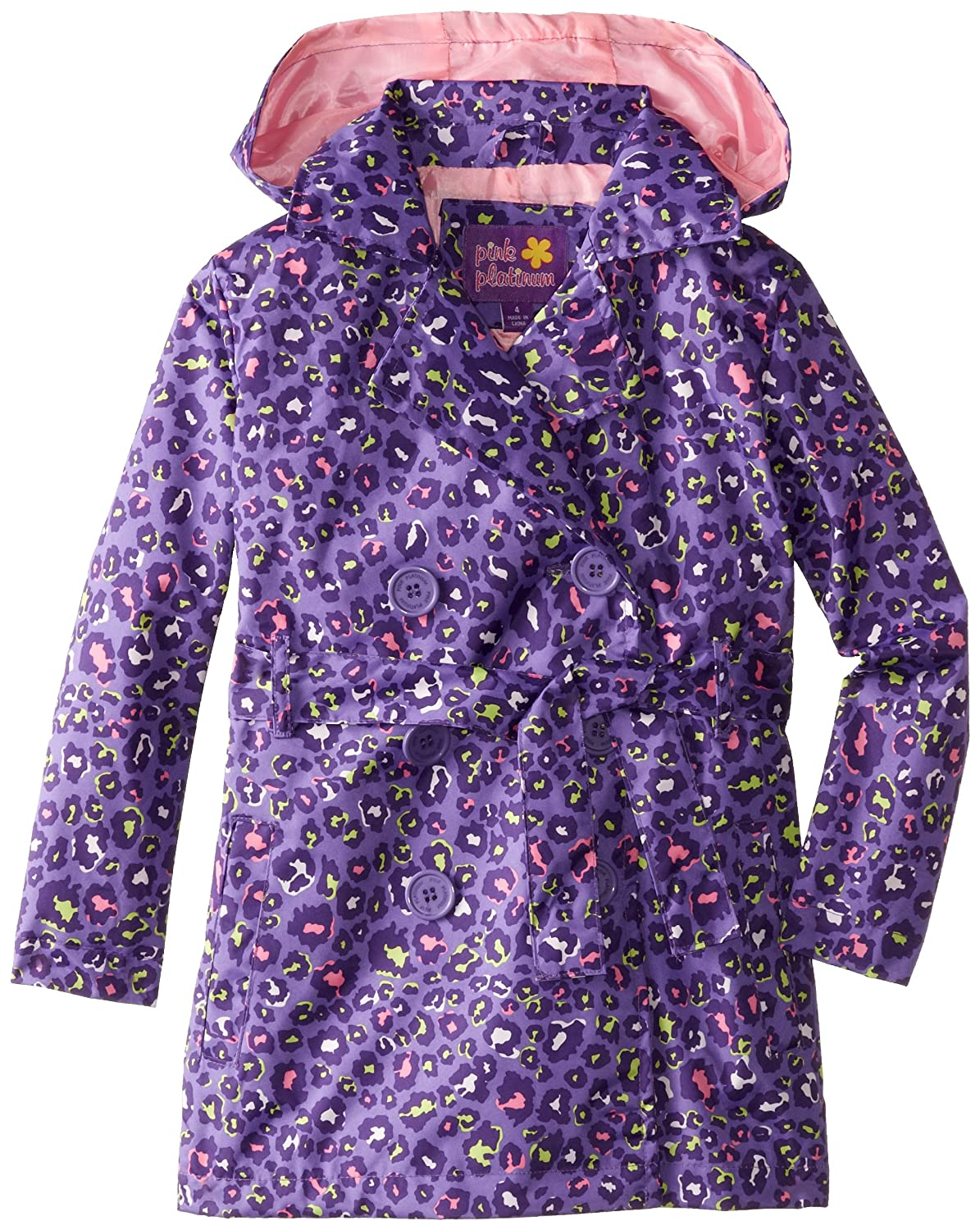 Pink Platinum Girls' Multicolor Animal Trench Jacket Pink Platinum Girls 2-6x PP82006