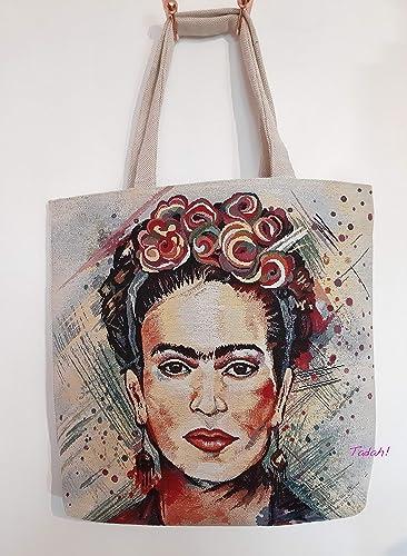 Grand Sac cabas Tote bag Frida Kahlo #2: : Handmade