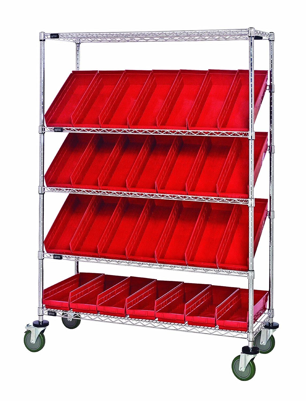 "B008I89KUM Quantum Storage Systems WRCSL5-63-2448-106RD 5-Tier Slanted Wire Shelving Suture Cart with 28 QSB106 Red Economy Shelf Bins, 2 Horizontal and 3 Slanted Shelves, Chrome Finish, 69"" Height x 48"" Width x 24"" Depth 91vNZKREnsL._SL1500_"