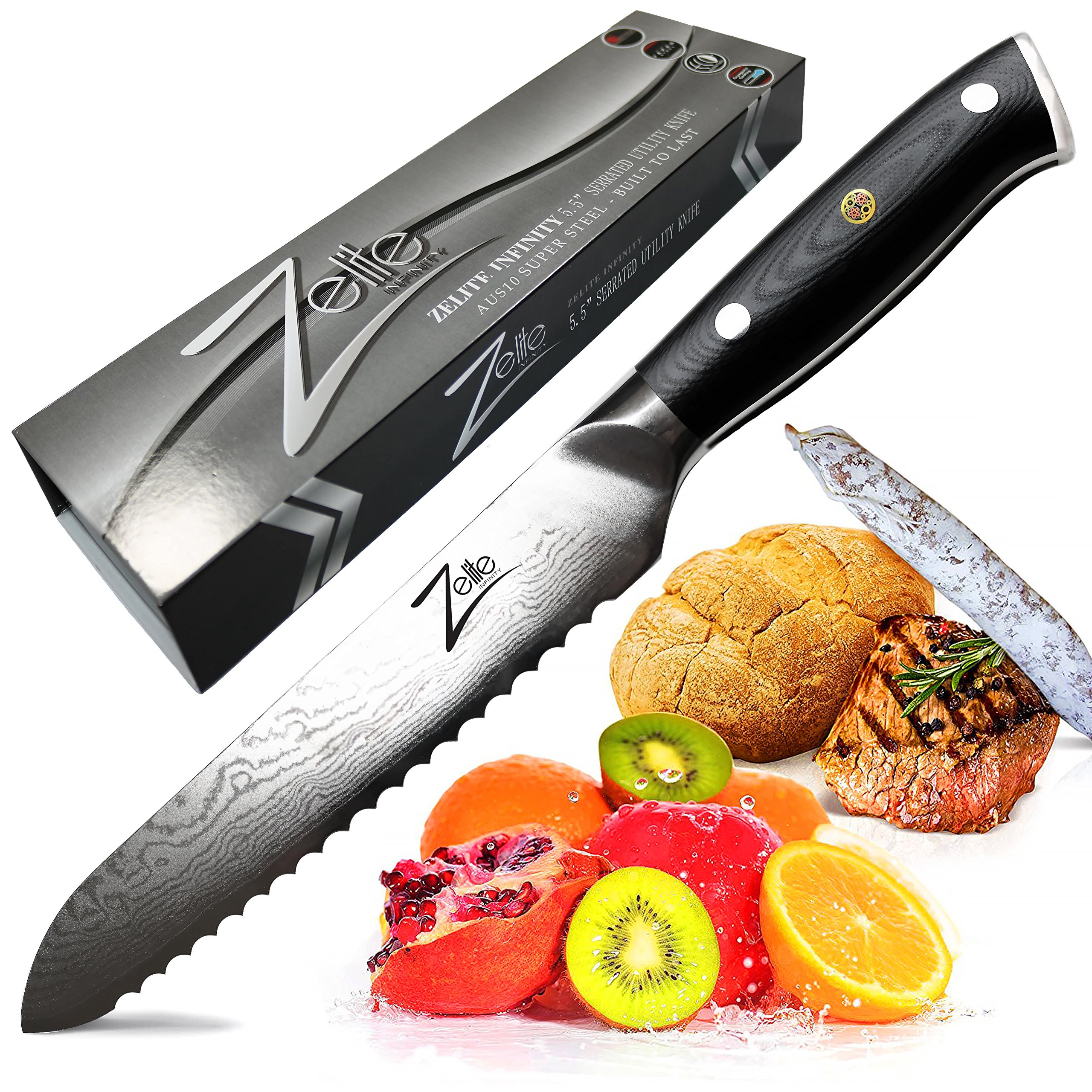 ZELITE INFINITY Serrated Utility Knife 5.5'' - Alpha-Royal Series - Japanese AUS10 Super Steel 67 Layer High Carbon Stainless Steel - Razor Sharp! Steak, Sausage, Tomato, Bread, Sandwich, Fruit Knives
