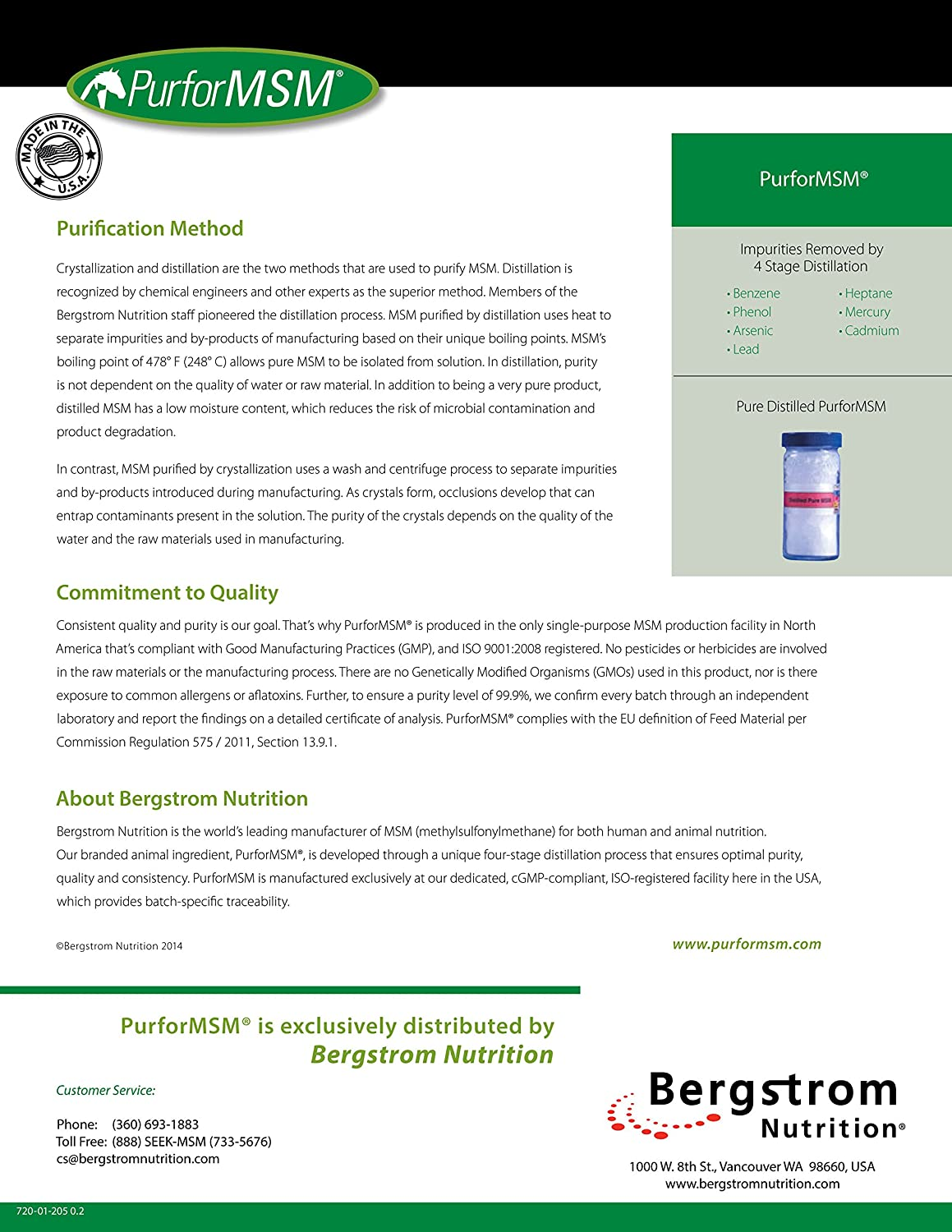 MSM Powder (PurforMSM) for Equine and Canine