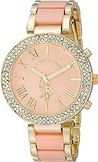 U.S. Polo Assn. USC40063 Reloj con brazalete en tono dorado rosa para mujer