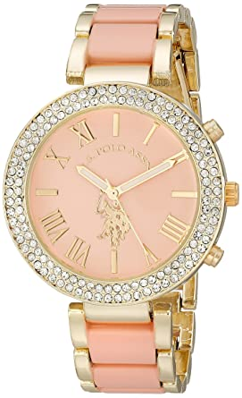 U.S. Polo Assn. Womens USC40063 Gold,Tone and Pink Bracelet Watch