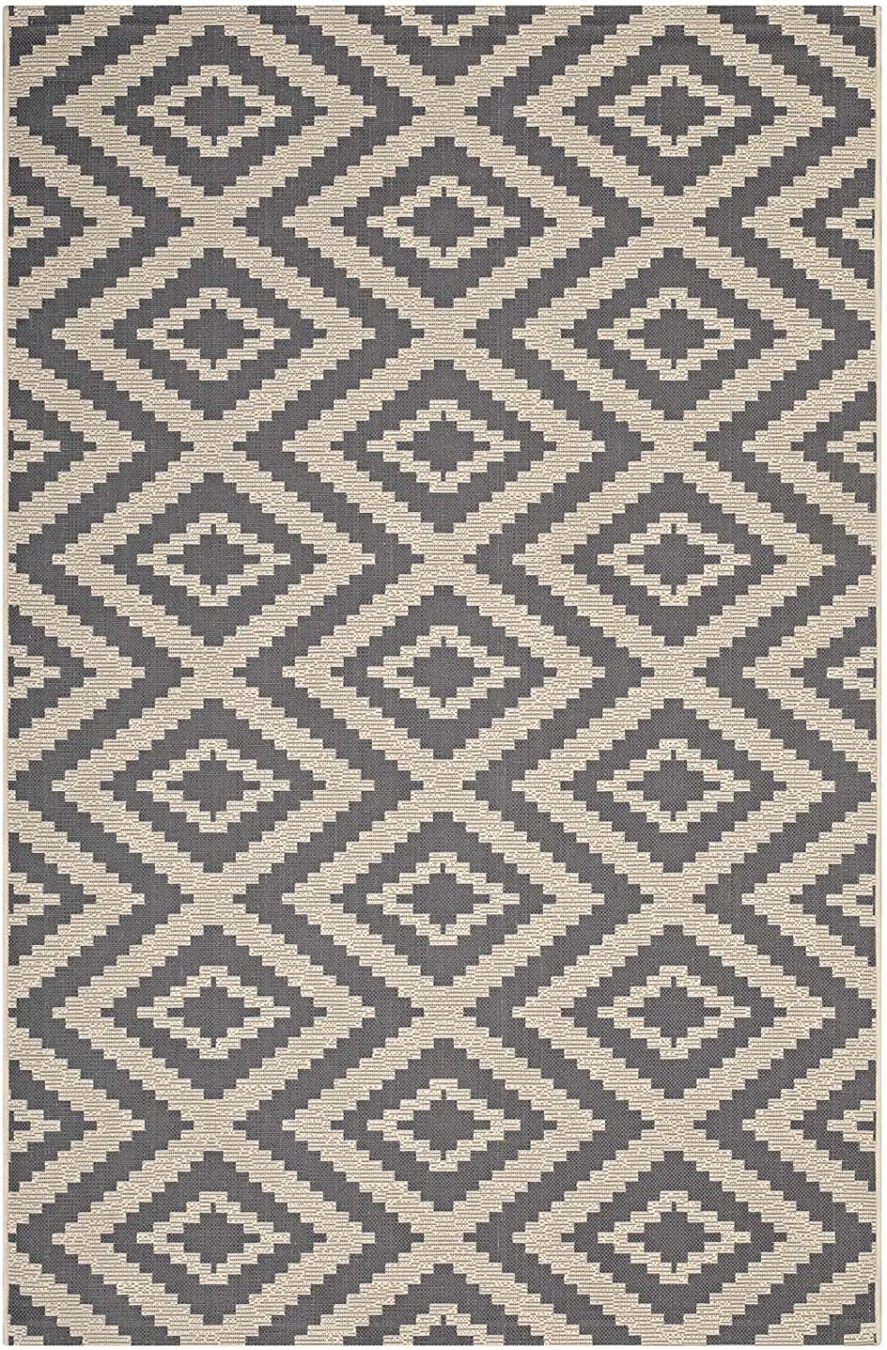 Modway Jagged Geometric Diamond Trellis 8x10 Indoor And Outdoor In Gray And Beige Furniture Decor