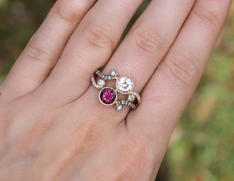 Amazon.com: LE VIAN LeVian Ring Peach Morganite and Rhodolite Garnet ...