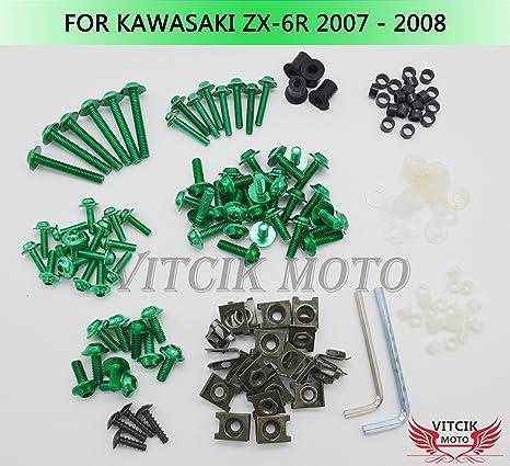 VITCIK Full Fairings Bolt Screw Kits for Kawasaki ZX6R ZX-6R Ninja 636 2007 2008 07 08 Motorcycle Fastener CNC Aluminium Clips (Green)