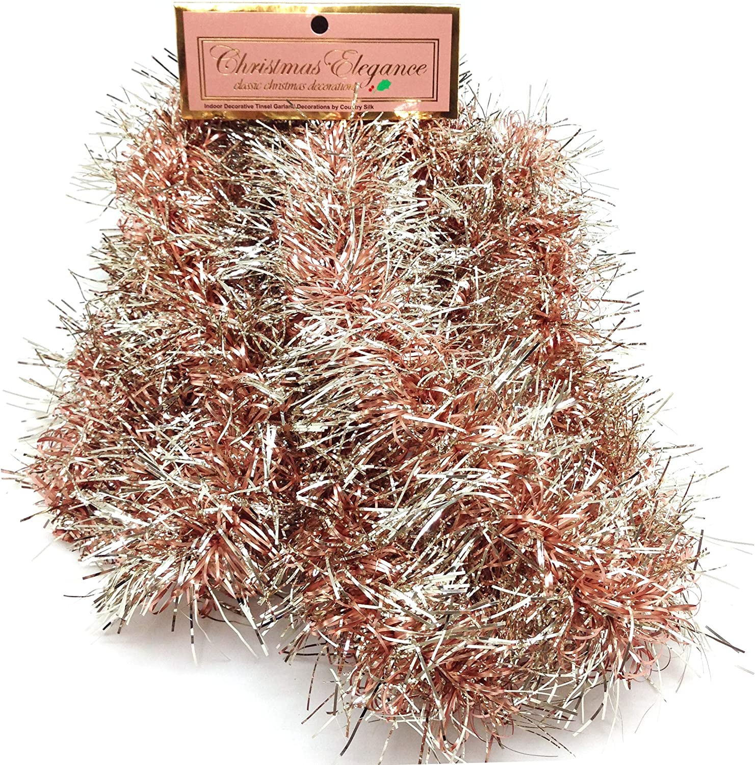 Christmas Elegance 90 Inch Thin Tinsel Center Loop Christmas Garland, Rose Gold/Champagne