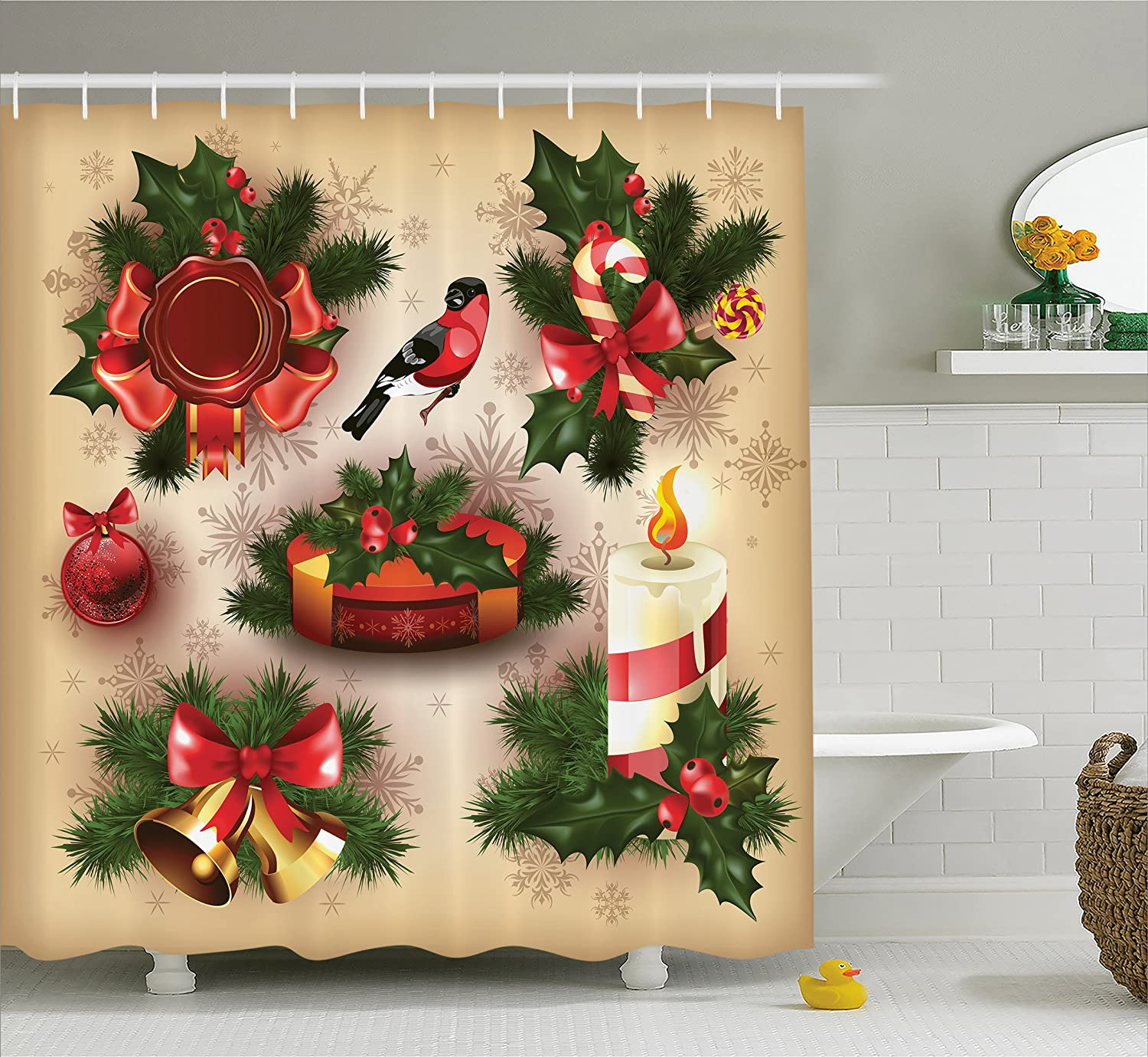 Christmas Bathroom Sets Amazon: Christmas Shower Curtain Retro Vintage By Ambesonne