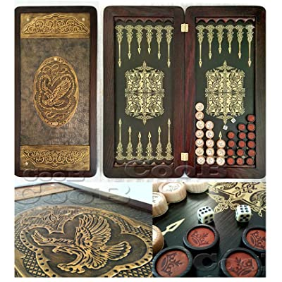 "Golden Eagle Backgammon Board 21"" Game Set, Wood & Crocodile Leather, Pieces & Dices: Toys & Games"