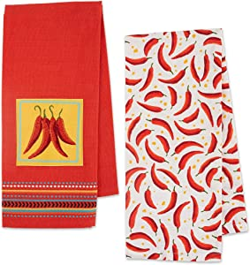 DII Chili Pepper Kitchen Towels, Set of 2 Red Embellished Chilis & Allover Chilis Print Towels, Chili Pepper Dish Towels Flat Weave 100% Cotton for Cooking, Baking, Dishes, Chili Pepper Kitchen Decor